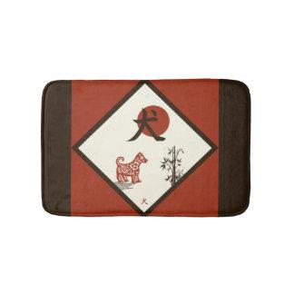 Tapete De Banheiro Cão do Kanji no vermelho