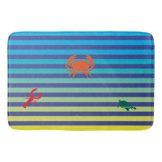 Tapete De Banheiro Caranguejo, lagosta e tartaruga em listras da