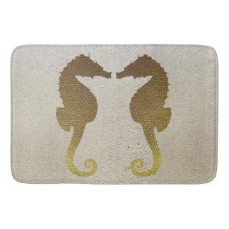 Tapete De Banheiro Cavalos marinhos do ouro na esteira de banho