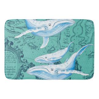 Tapete De Banheiro Cerceta da família das baleias azuis