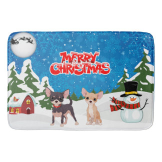 Tapete De Banheiro Chihuahuas do Feliz Natal