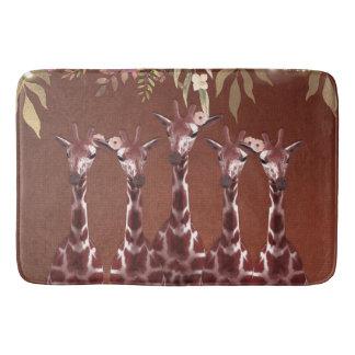 Tapete De Banheiro Chique rústico floral do safari de Brown do girafa