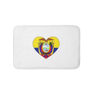 Tapete De Banheiro Coração da bandeira de Equador