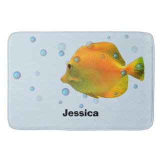 Tapete De Banheiro Crianças corais dos peixes do amarelo bonito do