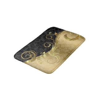 Tapete De Banheiro Damasco do ouro e redemoinho e damasco preto