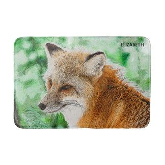 Tapete De Banheiro Desenho selvagem bonito do Fox vermelho