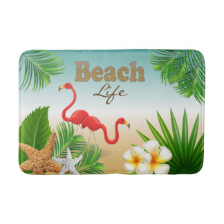 Tapete De Banheiro Design tropical da vida da praia com pássaros do