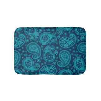 Tapete De Banheiro Elegante azul do teste padrão de Paisley