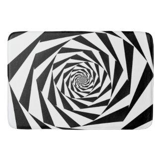 Tapete De Banheiro Espiral preto e branco