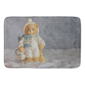 Tapete De Banheiro Estatueta do urso de ursinho do inverno