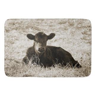 Tapete De Banheiro Esteira de banho adorável da vaca do bebê do Sepia