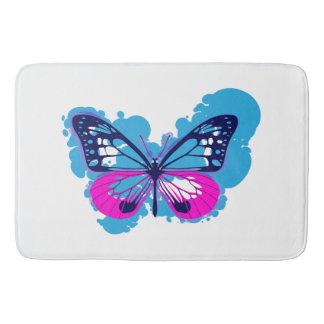 Tapete De Banheiro Esteira de banho azul da borboleta do pop art