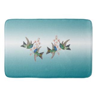 Tapete De Banheiro Esteira de banho azul das flores dos animais dos