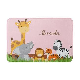 Tapete De Banheiro Esteira de banho bonito cor-de-rosa dos animais do