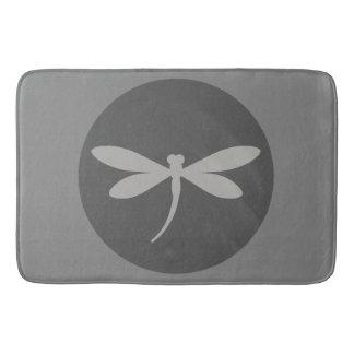 Tapete De Banheiro Esteira de banho cinzenta da libélula