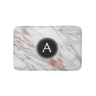 Tapete De Banheiro Esteira de banho cor-de-rosa do monograma do