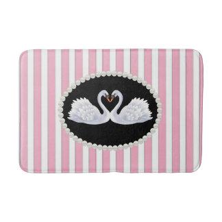 Tapete De Banheiro Esteira de banho cor-de-rosa elegante das listras,