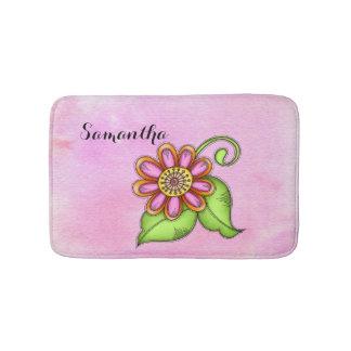 Tapete De Banheiro Esteira de banho da flor do Doodle da aguarela da