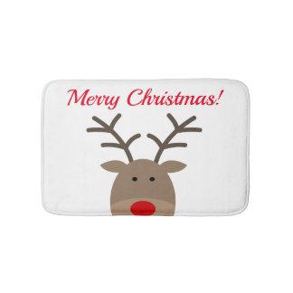 Tapete De Banheiro Esteira de banho do Feliz Natal com a rena bonito
