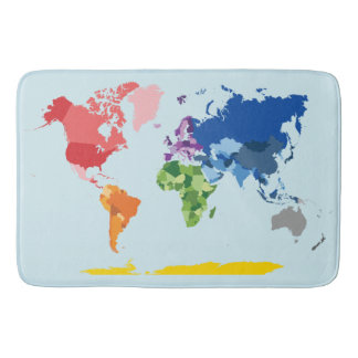 Tapete De Banheiro Esteira de banho do mapa do mundo