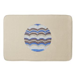 Tapete De Banheiro Esteira de banho do mosaico azul redondo grande