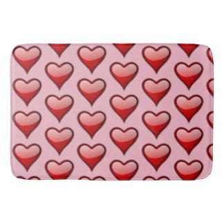Tapete De Banheiro Esteira de banho do rosa vermelho do coração