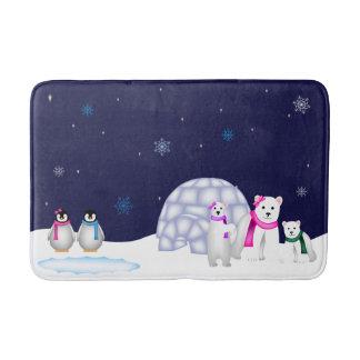 Tapete De Banheiro Esteira de banho dos pinguins e dos ursos polares