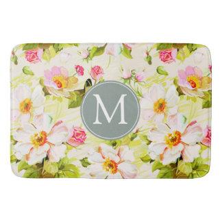 Tapete De Banheiro Esteira de banho floral do monograma das peônias