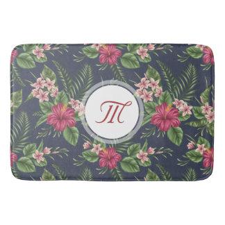 Tapete De Banheiro Esteira de banho floral do monograma do hibiscus