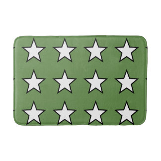 Tapete De Banheiro Esteira de banho média do verde branco da estrela