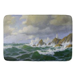 Tapete De Banheiro Esteira de banho rochosa da costa das ondas de