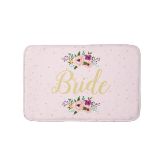 Tapete De Banheiro Esteira de banho - rosa floral da noiva
