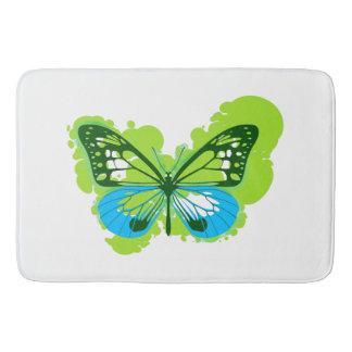 Tapete De Banheiro Esteira de banho verde da borboleta do pop art