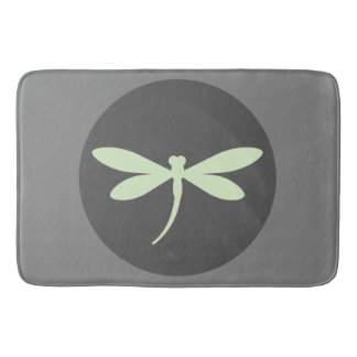 Tapete De Banheiro Esteira de banho verde da libélula da hortelã