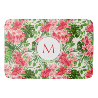 Tapete De Banheiro Esteira de banho vermelha do monograma do hibiscus