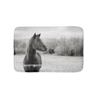 Tapete De Banheiro Esteira de chá preta & branca do cavalo do gelo do