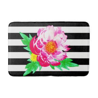 Tapete De Banheiro Esteira preta & branca da peônia cor-de-rosa da