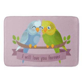 Tapete De Banheiro Esteiras de banho bonitos dos pássaros do amor