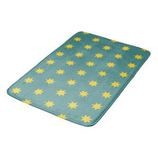 Tapete De Banheiro Estrelas amarelas na esteira de banho verde,