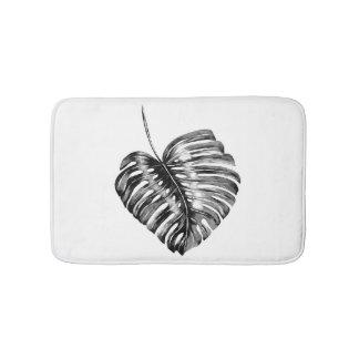 Tapete De Banheiro Exótico tropical da folha preto e branco do