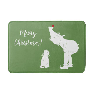 Tapete De Banheiro Feliz Natal duende e esteira de banho do gato
