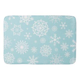 Tapete De Banheiro Feriados brancos azuis do Natal do floco de neve