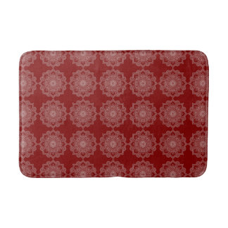 Tapete De Banheiro Flor branca bonita da mandala no vermelho