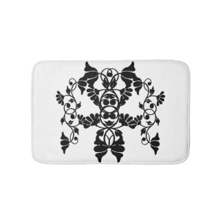 Tapete De Banheiro Flores Embellishing do Victorian preto e branco