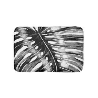 Tapete De Banheiro Folha de palmeira preto e branco do monstera