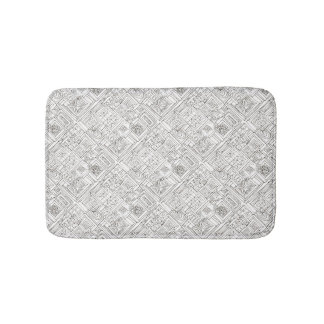 Tapete De Banheiro Fora do Doodle Caixa-Preto e do branco do abstrato