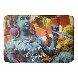 Tapete De Banheiro Foto azul asiática da estátua do guerreiro das