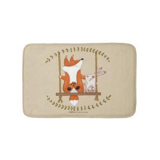 Tapete De Banheiro Fox da floresta e balanço do coelho