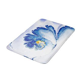 Tapete De Banheiro fractal espiral azul da flor do design abstrato