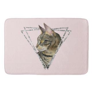 Tapete De Banheiro Gato de gato malhado com quadro do brilho da prata